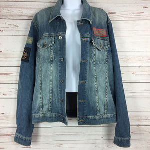 Juicy Couture Distressed Jean Jacket w/ Patches L